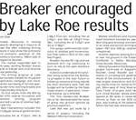 Breaker encouraged by Lake Roe results